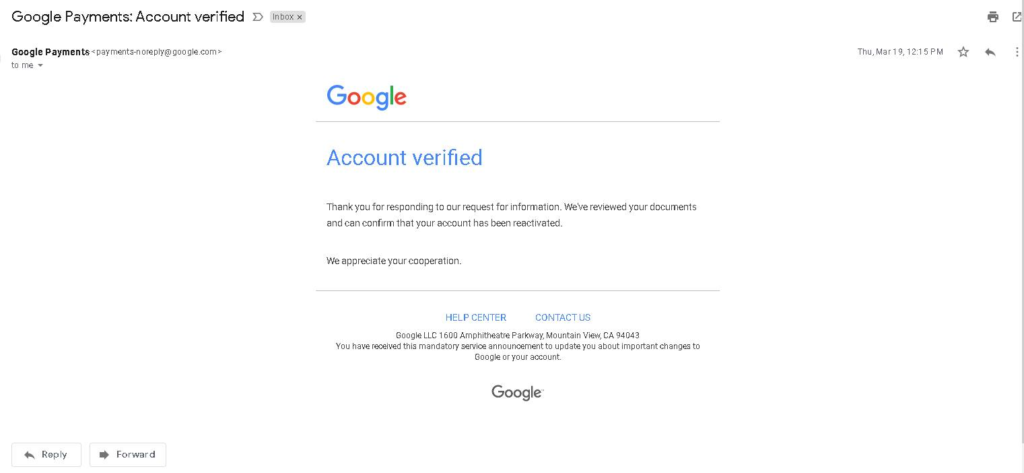 Account Verified Message