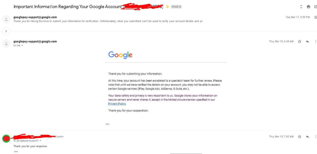 Contact with AdSense Support